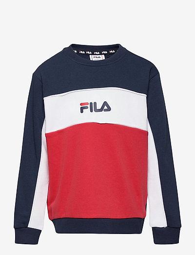 TEENS GIRLS OLENA blocked crew - sweat-shirt - true red-black iris-bright white