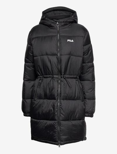 EMBLA long hooded puff jacket - parkas - black