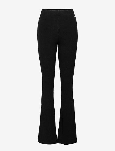 ELWYN ribbed flared stretch trouser - pantalon de sport - black