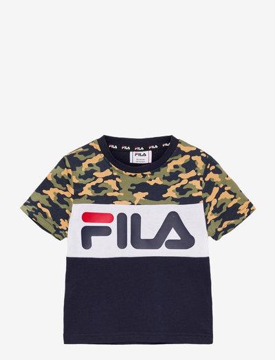 THEA AOP blocked tee - t-shirts à manches courtes - black iris-desert camo allover-bright white