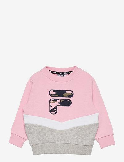 QUIN crew sweat - sweat-shirt - pink mist-light grey melange bros-bright white