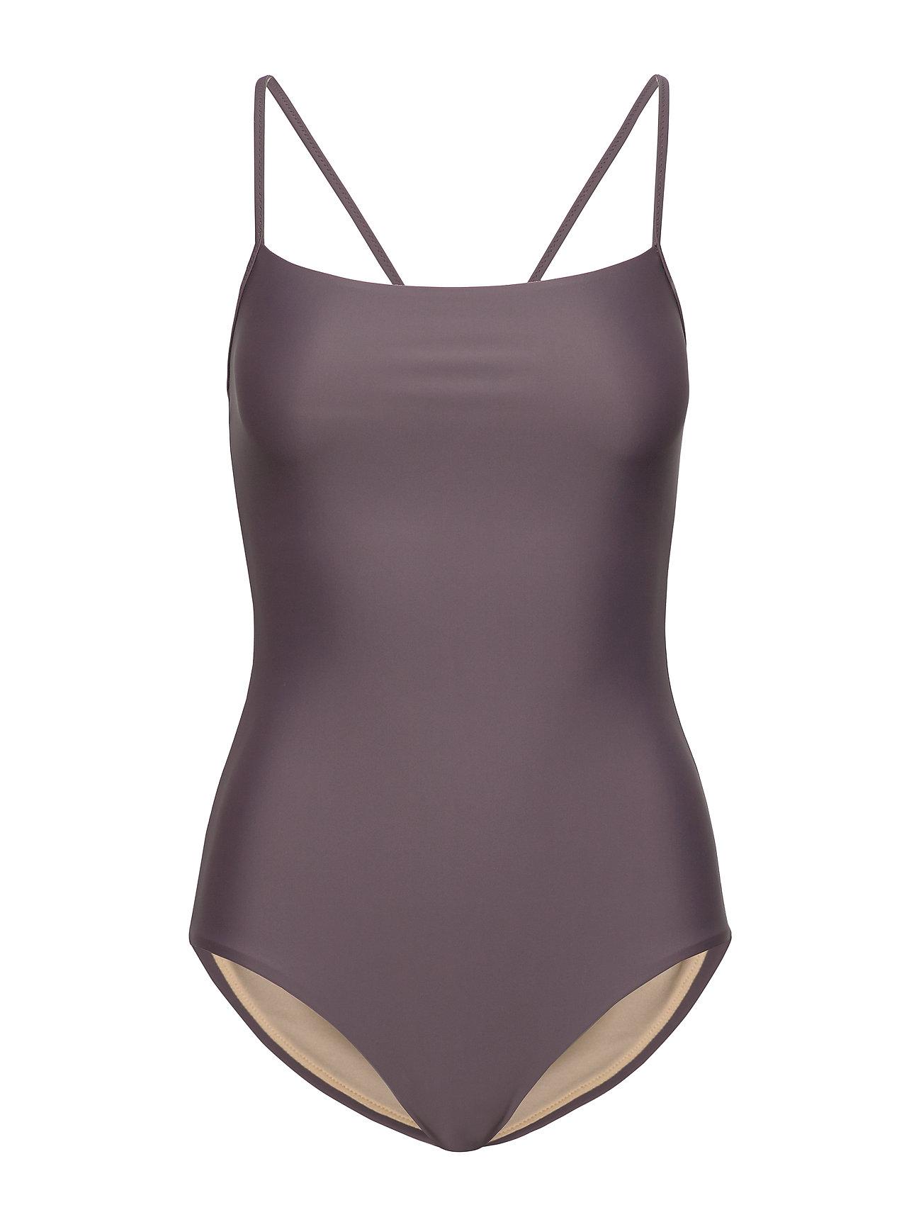 Filippa K Soft Sport Shiny Strap Swimsuit - MAUVE
