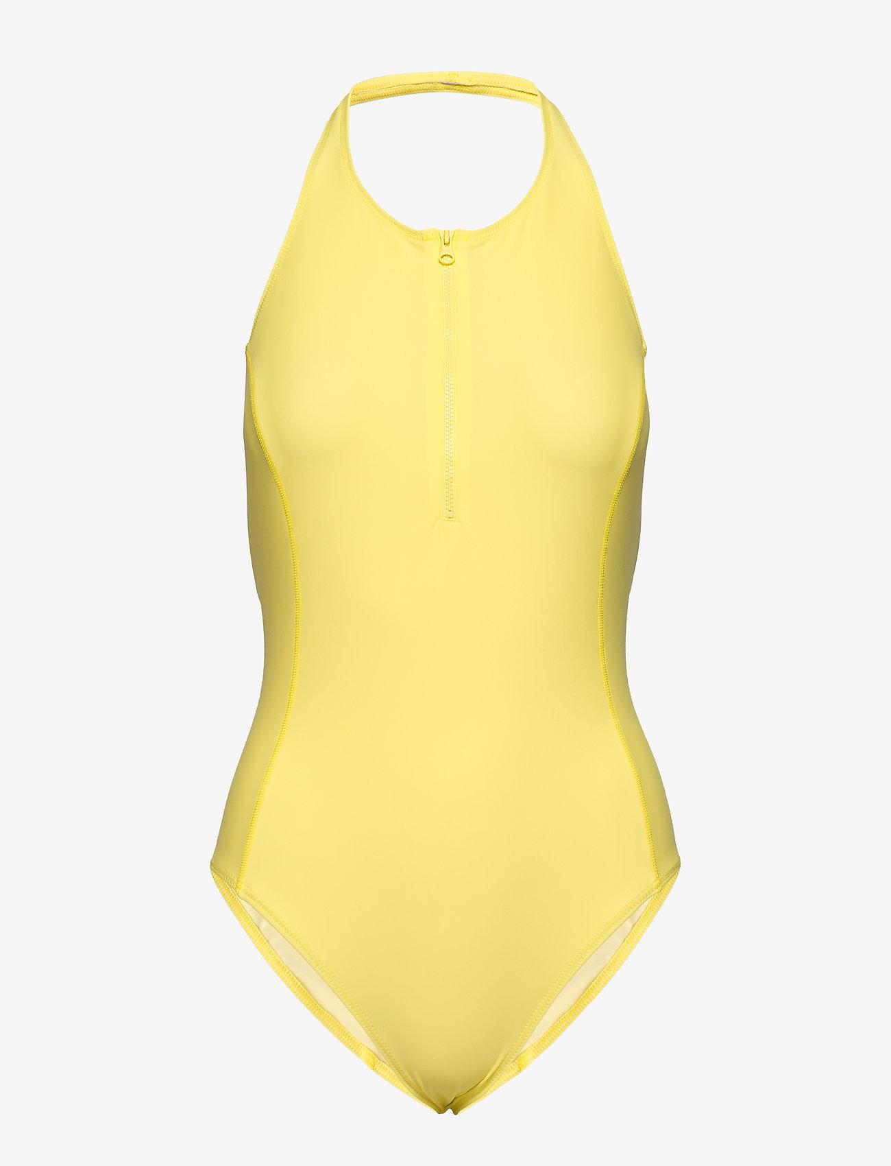 Filippa K Soft Sport - Halter Swimsuit - stroje kąpielowe - lemon - 0