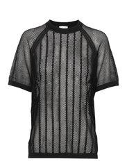 Cotton Mesh Knit Top - BLACK