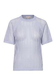 Cotton Mesh Knit Top - SKY BLUE