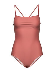Shiny Strap Swimsuit - CORAL