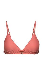 Shiny Triangle Bikini Top - CORAL
