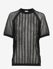 Filippa K Soft Sport - Cotton Mesh Knit Top - t-paidat - black - 0
