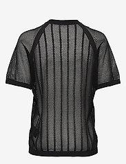 Filippa K Soft Sport - Cotton Mesh Knit Top - t-paidat - black - 1