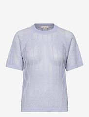 Filippa K Soft Sport - Cotton Mesh Knit Top - t-paidat - sky blue - 0