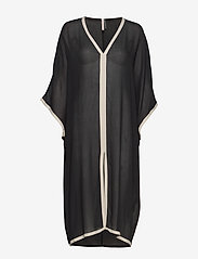 Filippa K Soft Sport - Two-Tone Beach Kaftan - strandtøj - black/ivor - 0