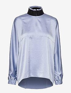 Satin Track Shirt - matchende sæt - sky blue