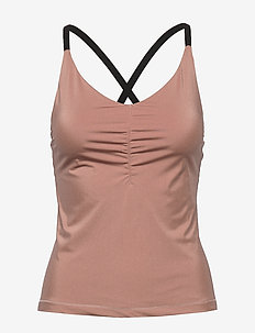Gathered Strap Top - tank tops - tan