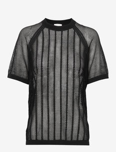 Cotton Mesh Knit Top - t-shirts - black