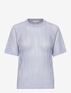 Cotton Mesh Knit Top - t-shirts - sky blue