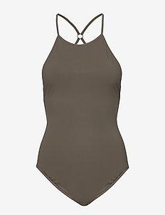Tie-back Swimsuit - sports swimwear - olive