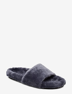 Logan Fur Sandal - MISTY BLUE