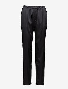 Silk Satin Pyjama Pants - BLACK