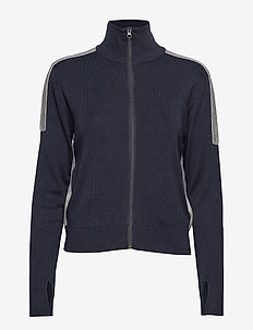 Knitted Track Jacket - NAVY WITH