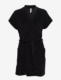 Terry Jersey Kimono - bathrobes - black