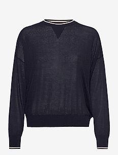 Sheer Knit Sweater - neulepuserot - navy w. pl