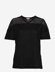 Tencel Mesh Tee - t-shirts - black