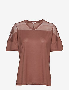 Tencel Mesh Tee - BURNT ROSE