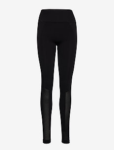Seamless Open Heel Mesh Leggin - running & training tights - black