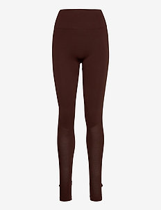 Seamless Open Heel Mesh Leggin - running & training tights - maroon