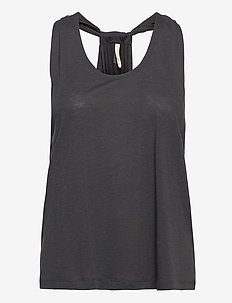 Twist Layer Tank - tank tops - coal