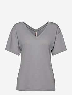 Double V-neck Tee - t-shirts - silver gre
