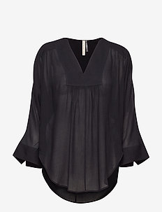 Gathered Beach Tunic - BLACK