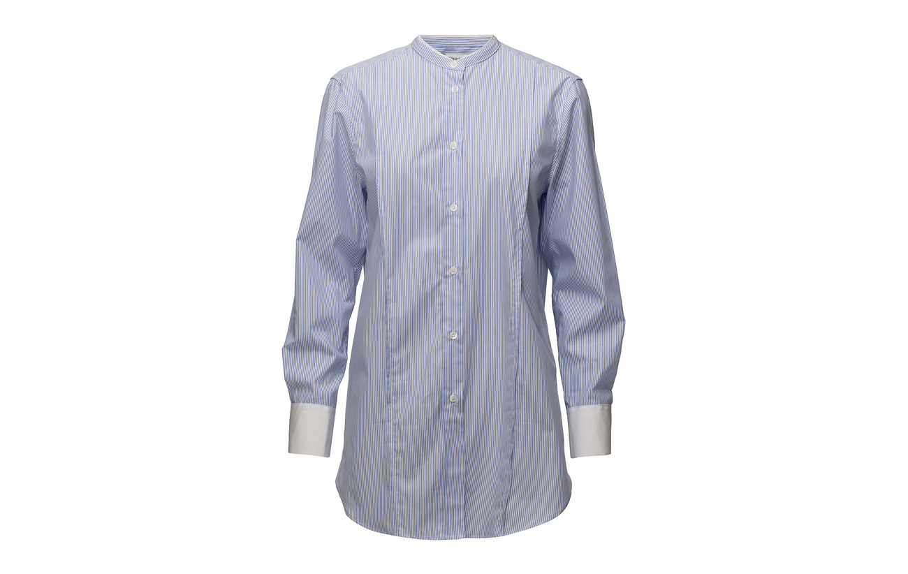 100 Bci K Long Striped Band White Filippa Shirt Coton Collar blue 8PqTdFz