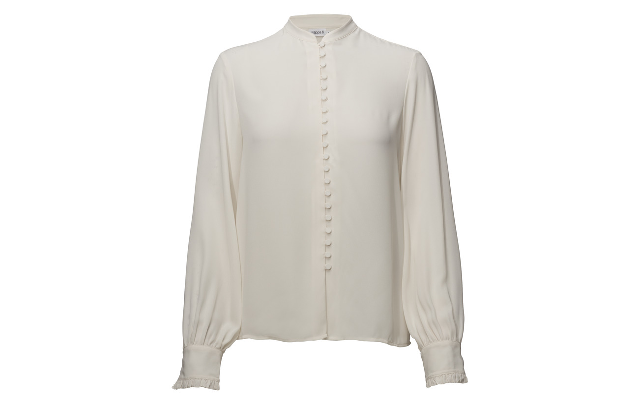 Cream Blouse Filippa 100 Polyester Sheer Button K qtSwx7SI
