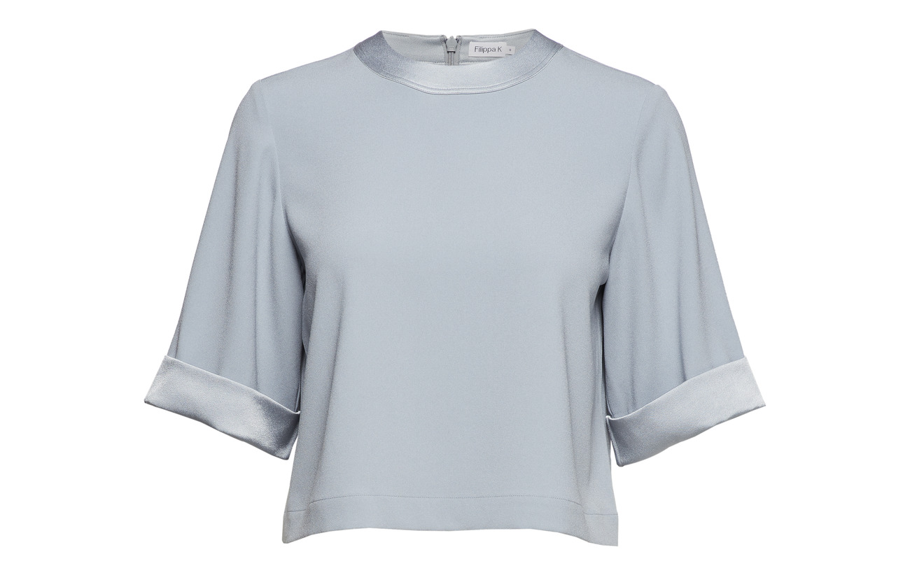 Triacetate Dove Polyester Top K Filippa Cropped 18 Blue 82 xnp6tq