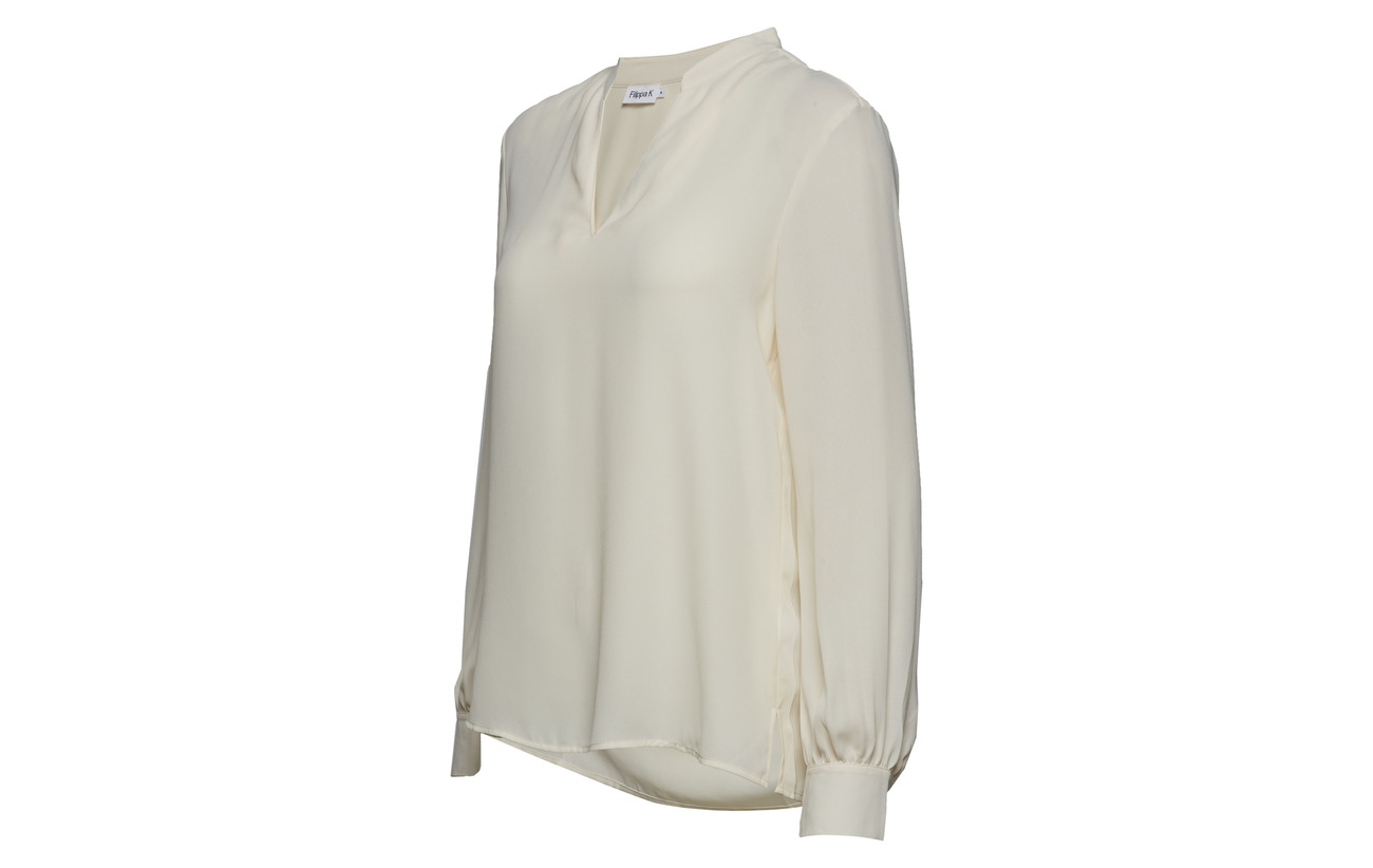 Chiffon Blouse Polyester 100 Équipement K V neck Offwhite Filippa qSvzRnp