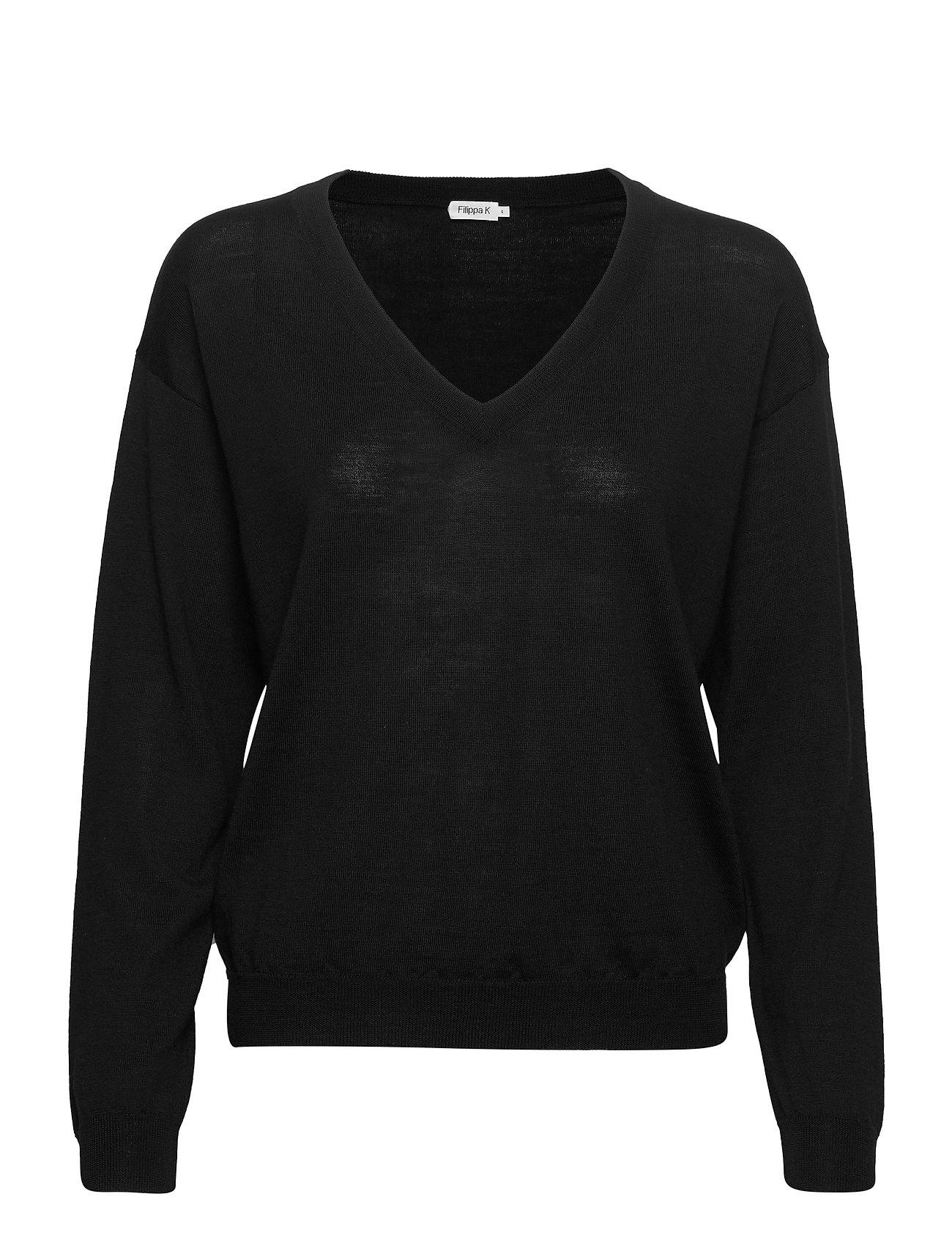 Filippa K Merino V-Neck Pullover - BLACK