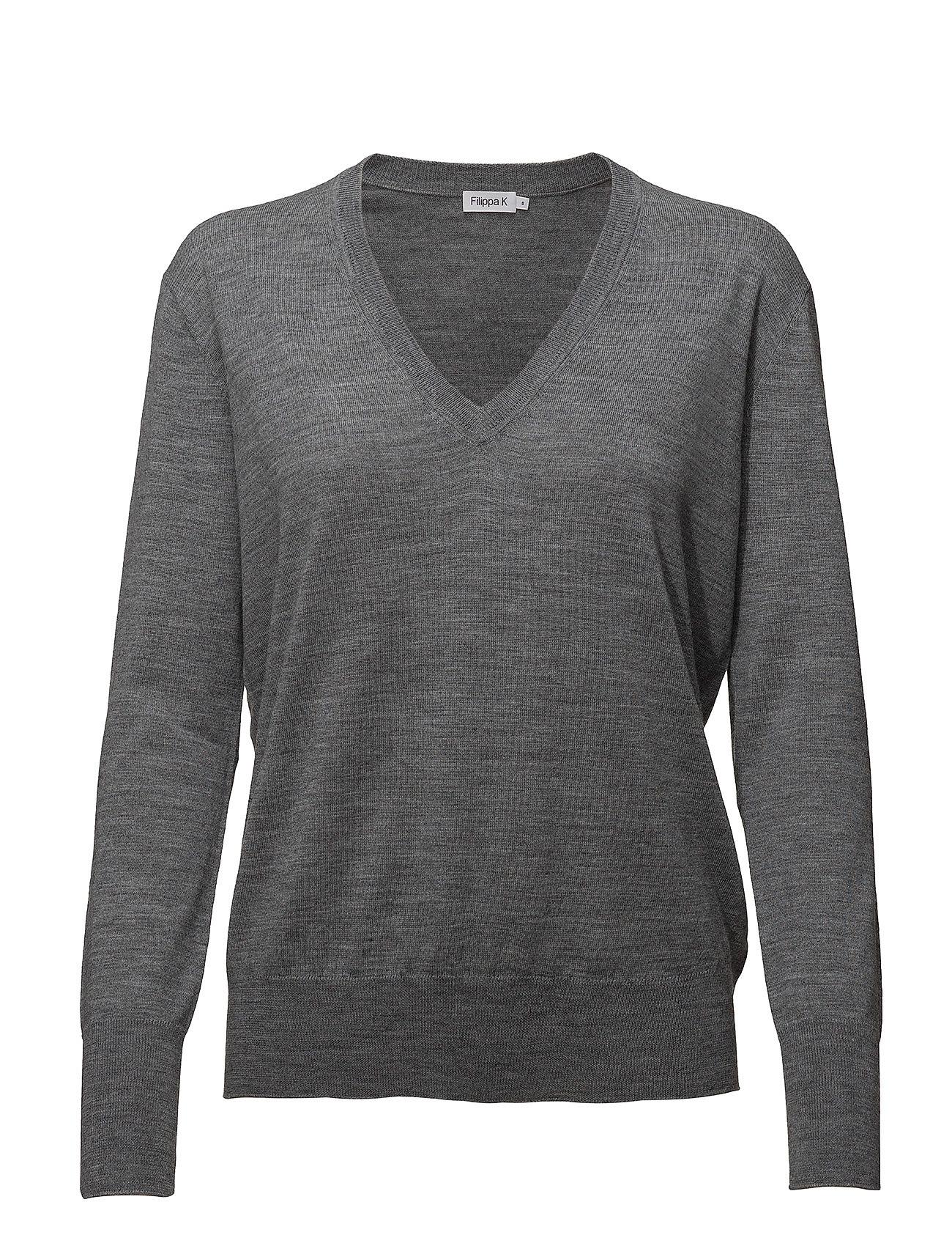 Filippa K Merino  V-neck Sweater - MID GREY M