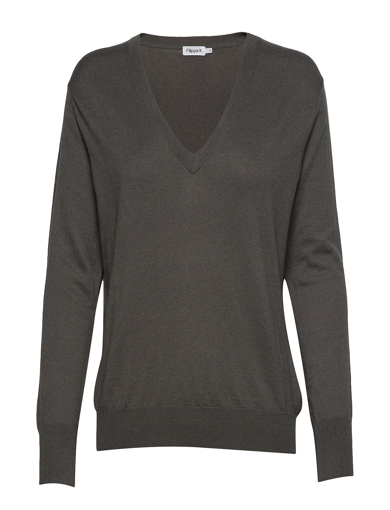 Filippa K Silk Mix V-Neck Sweater - MINERAL GR