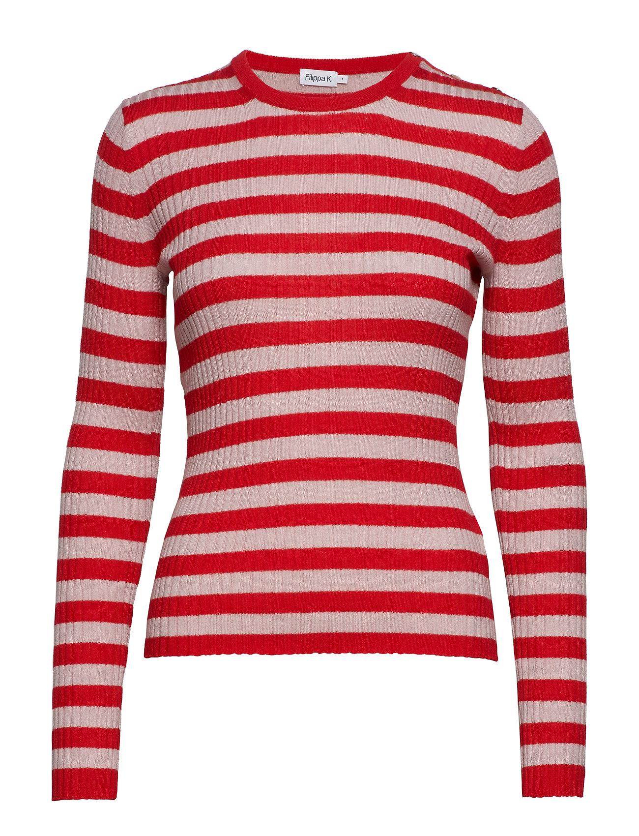 Filippa K Striped R-neck - BERRY RED/