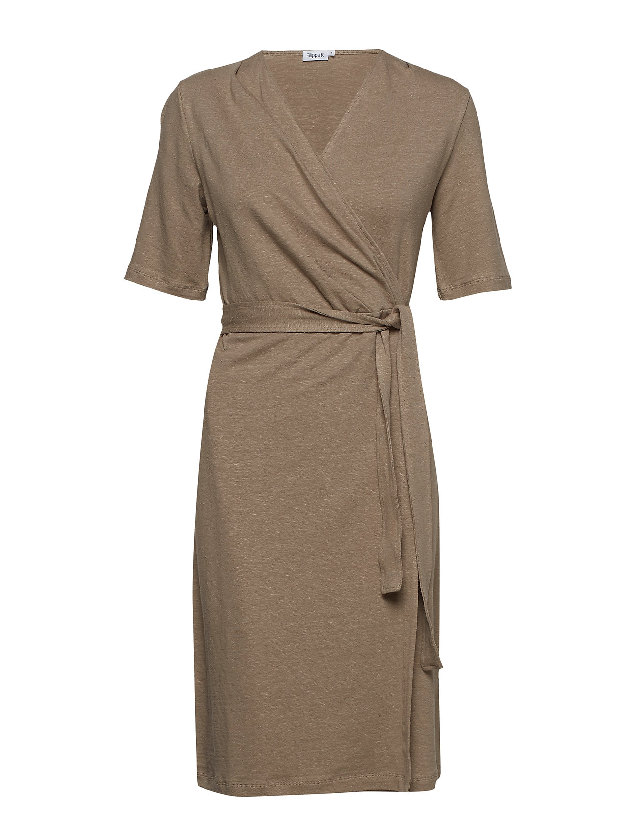 Filippa K Linen Wrap Dress - GREIGE