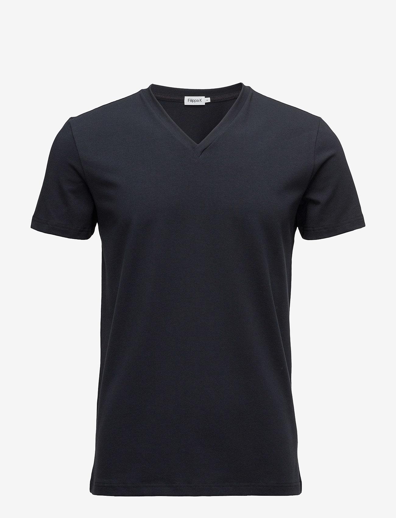 Filippa K - M. Lycra V-Neck Tee - short-sleeved t-shirts - navy - 0