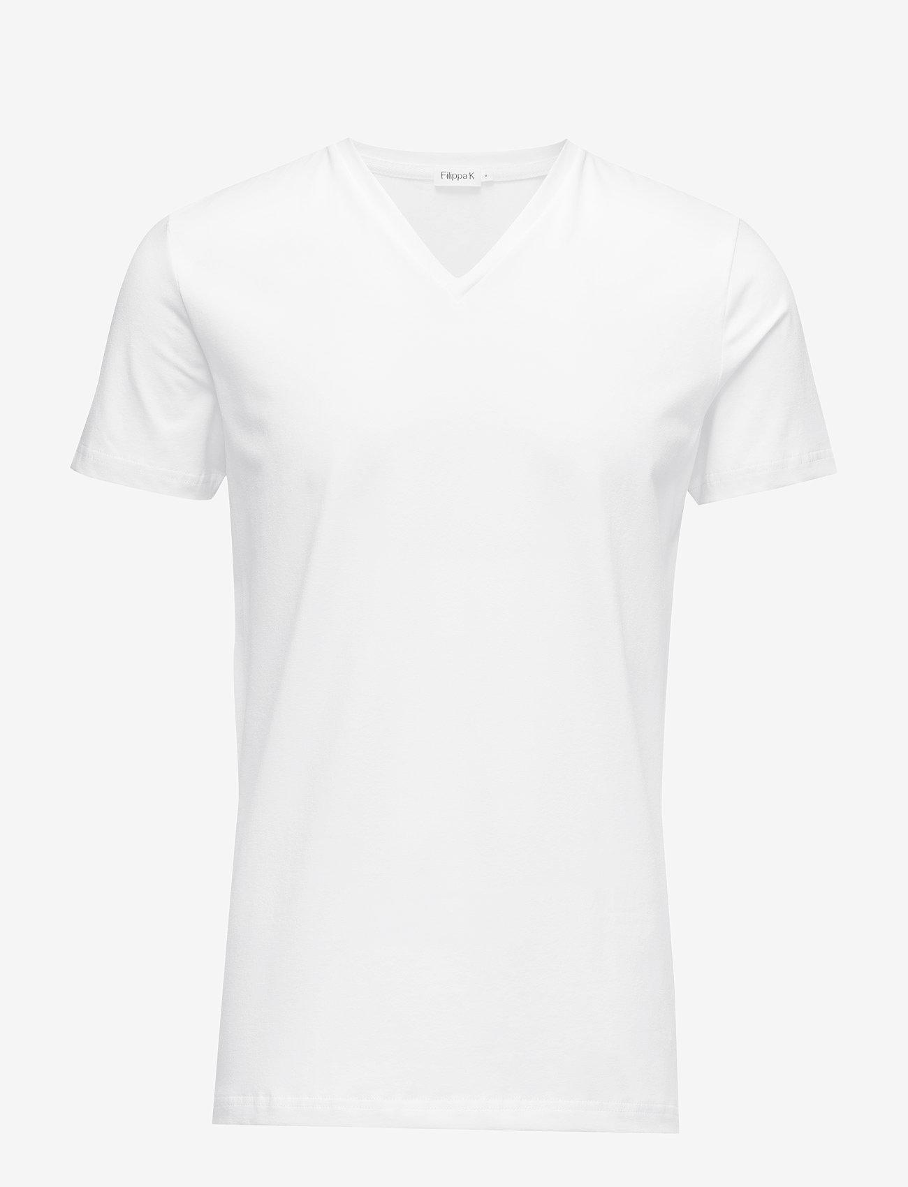 Filippa K - M. Lycra V-Neck Tee - kortermede t-skjorter - white - 0