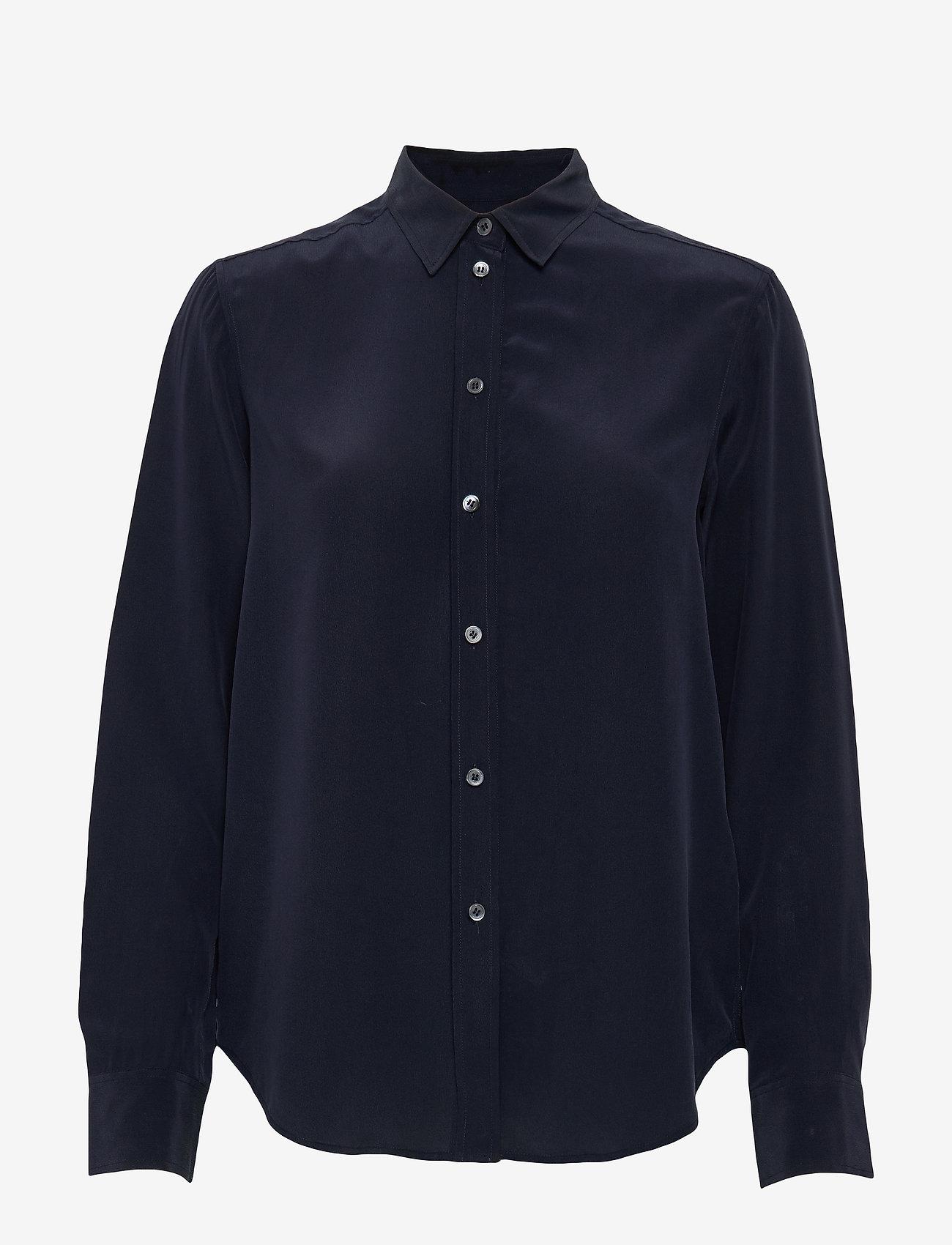 Filippa K - Classic Silk Shirt - långärmade skjortor - navy - 0