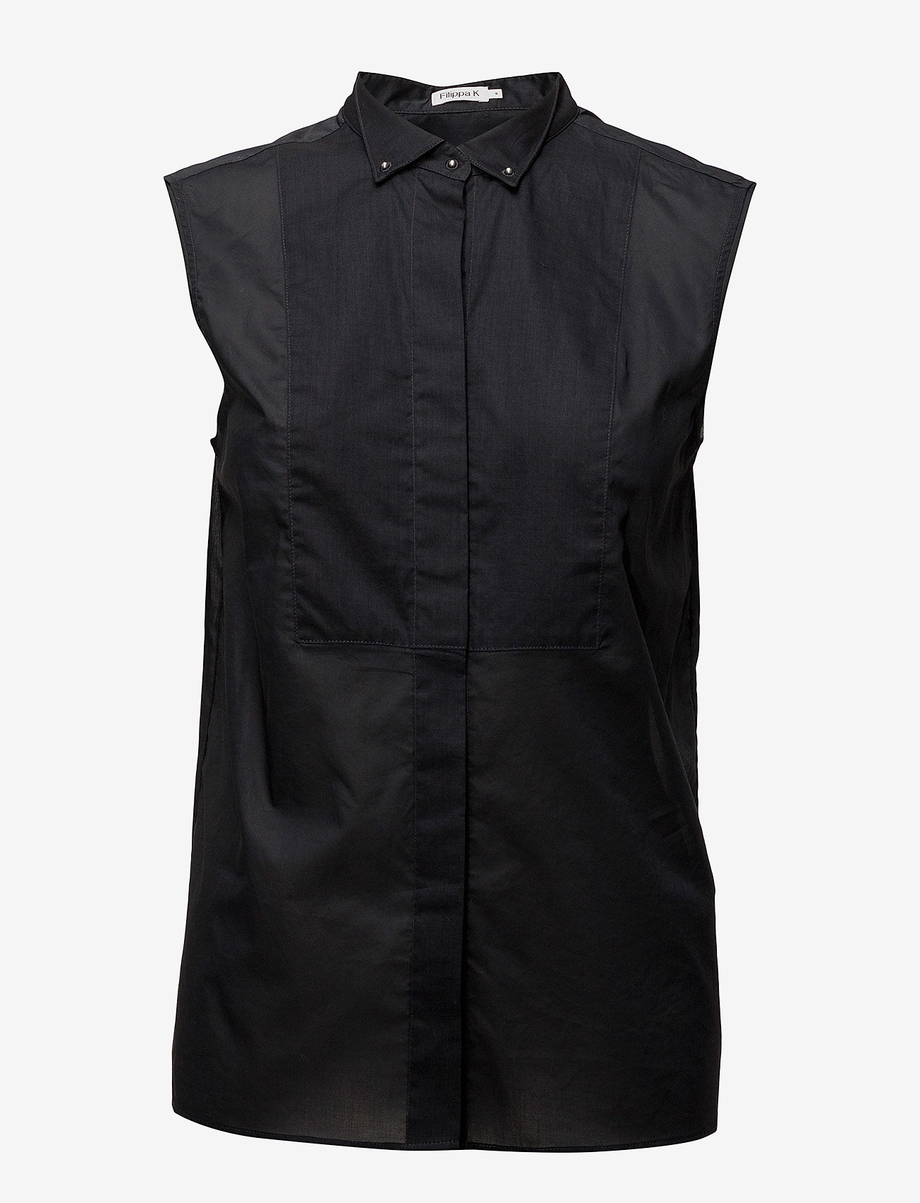 Filippa K - Tuxedo Sleeveless shirt - lyhythihaiset paidat - black - 0