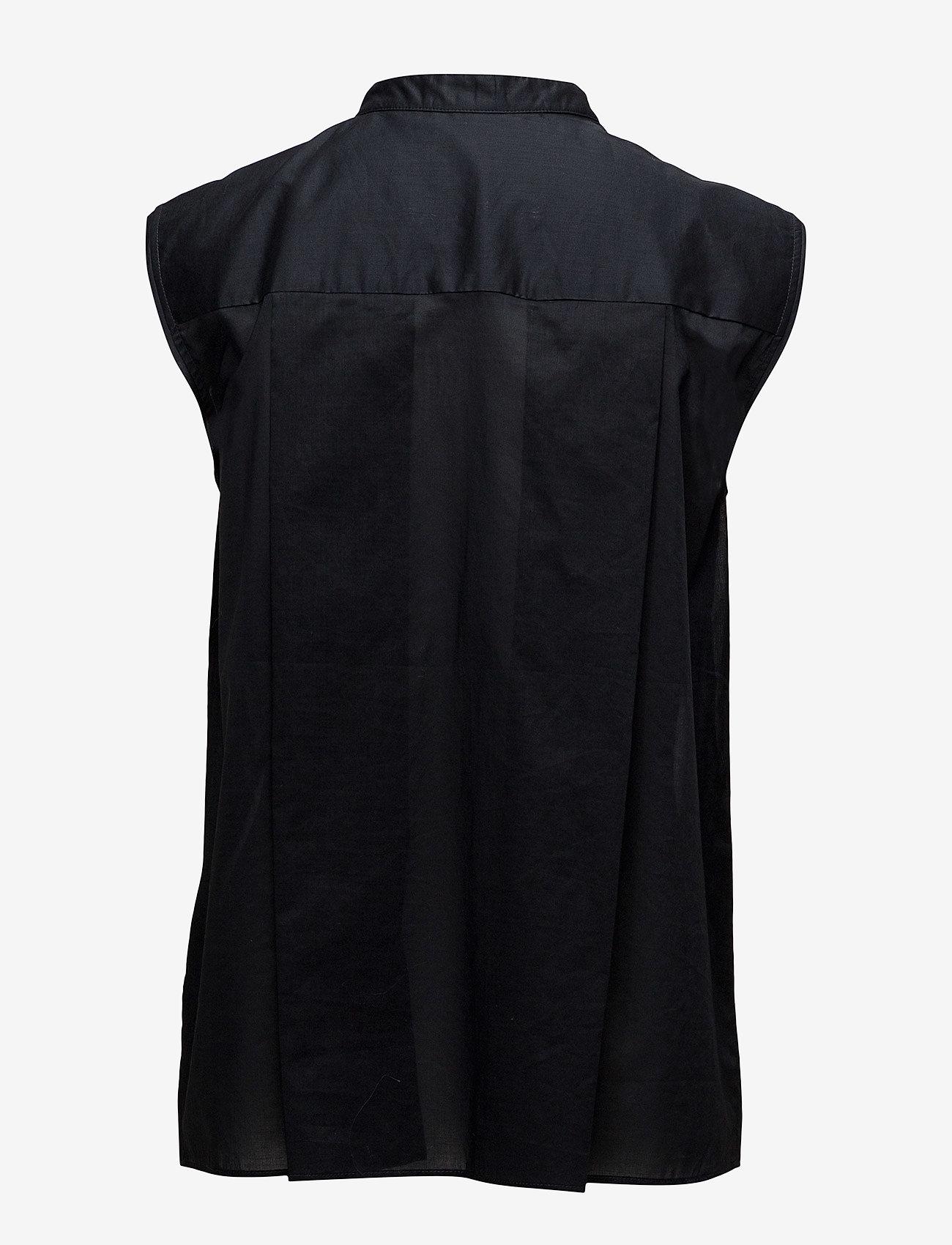 Filippa K - Tuxedo Sleeveless shirt - lyhythihaiset paidat - black - 1