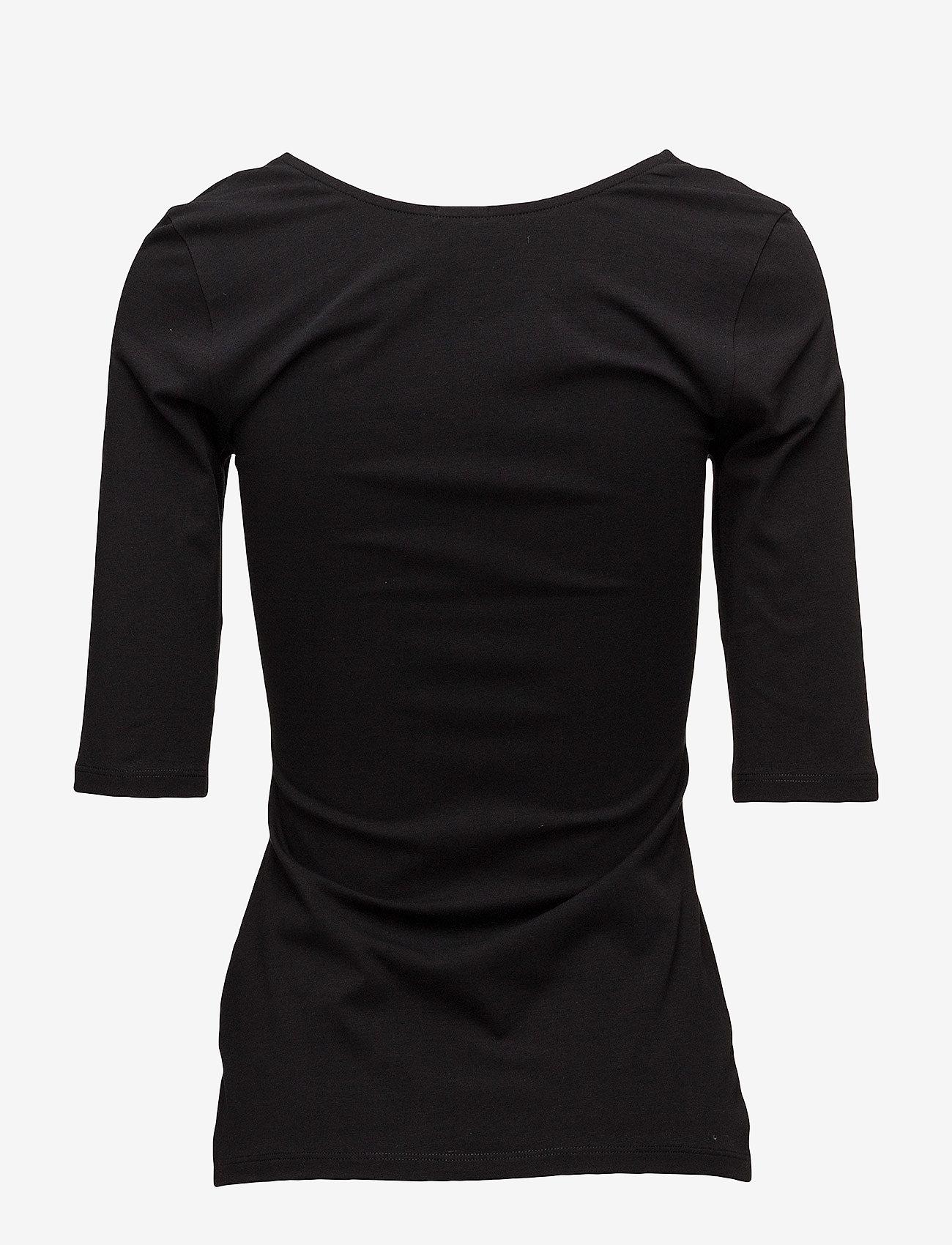 Filippa K - Cotton Stretch Scoop Neck Top - t-shirts - black - 1