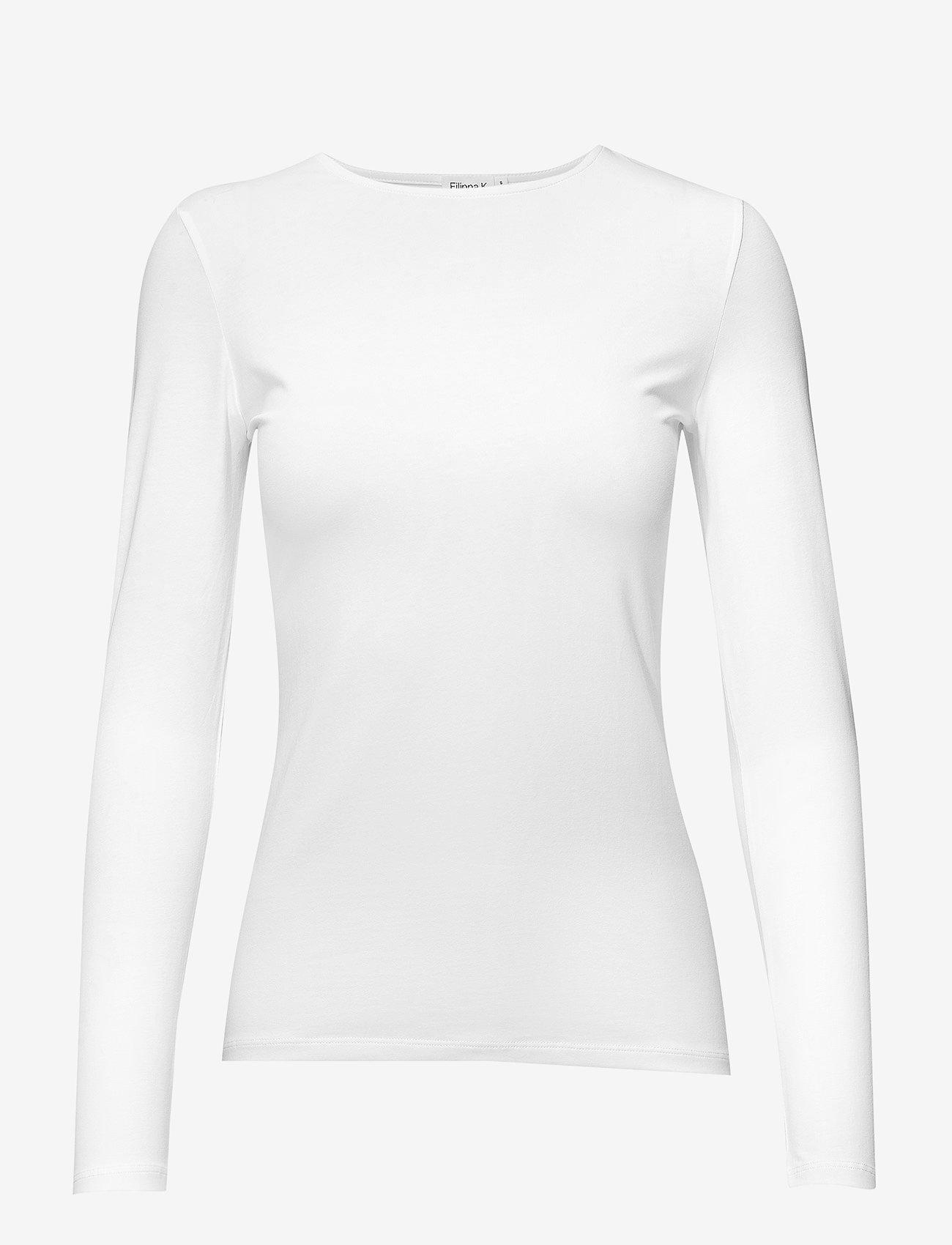 Filippa K - Cotton Stretch Long Sleeve - langærmede toppe - white - 0