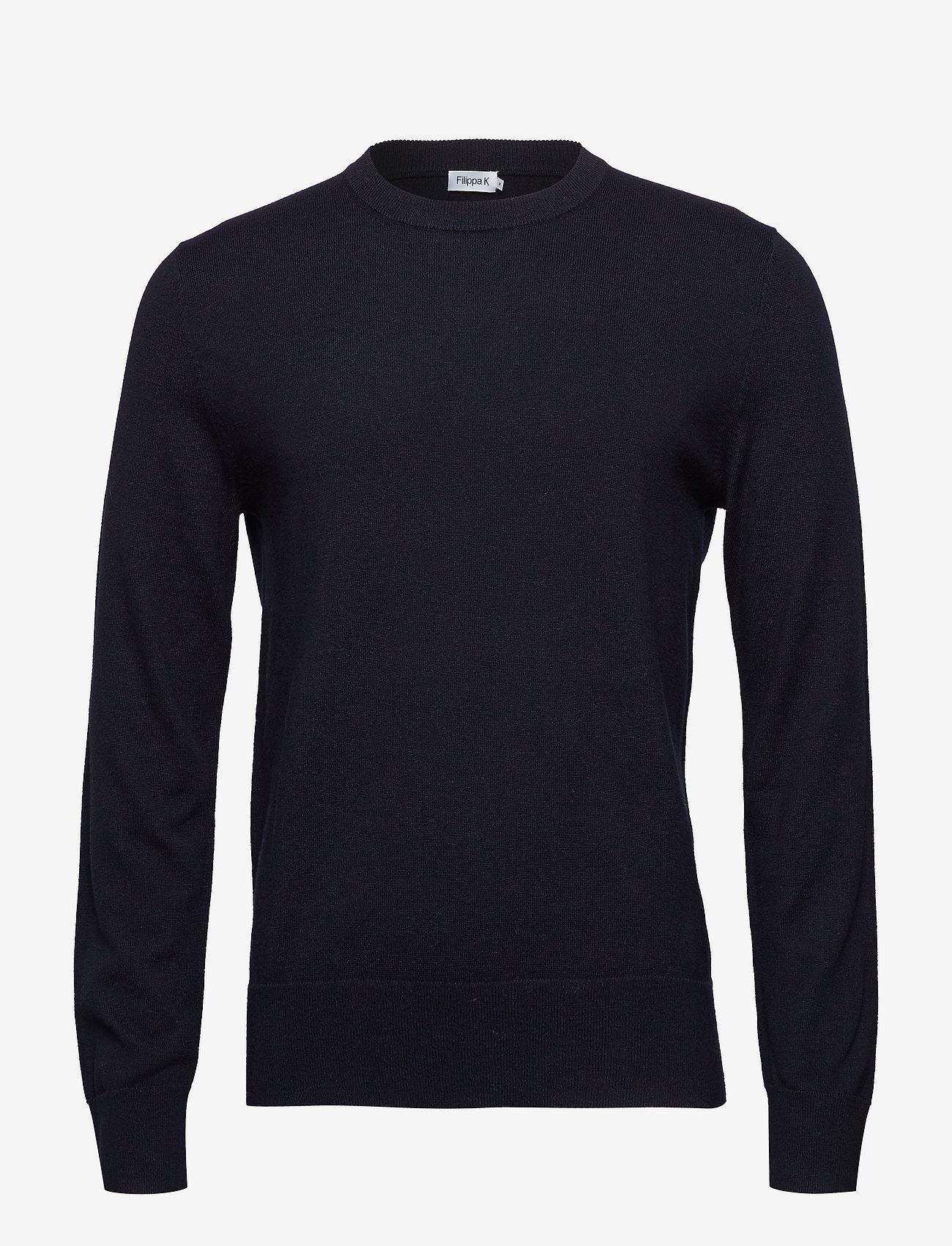 Filippa K - M. Cotton Merino Basic Sweater - basic strik - navy - 0