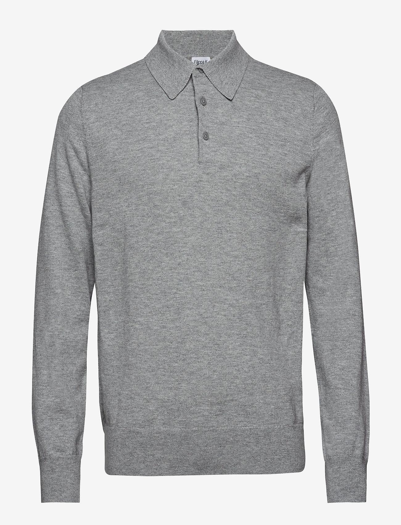 Filippa K - M. Knitted Polo Shirt - lange mouwen - light grey - 0